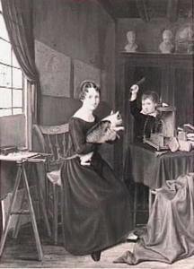 Een vrouw met een poes en een jongetje met een vogelkooitje in een interieur