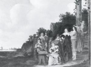 Familie groep in een landschap