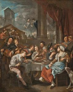 Vrolijk gezelschap etend en drinkend rondom een tafel