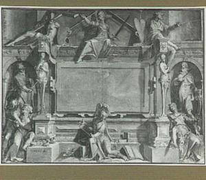Personificaties van de Gerechtigheid en bijbelse figuren rond een cartouche