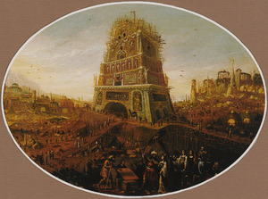 Nimrod houdt toezicht op de bouw van de toren van Babel (Genesis 11:3-5)