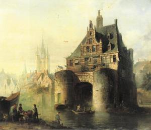 De Waterslootse poort en de Oude Kerk, Delft