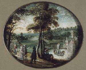 Landschap met elegante figuren; een kasteel met vijver in de achtergrond