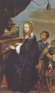 Portret van een onbekende vrouw aan haar spinet, met een bediende