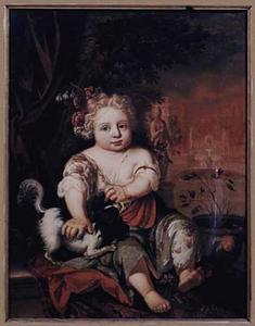 Portret van een kind met een spaniel
