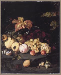 Vruchten op een stenen plint in een tuin