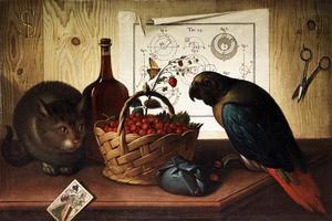 Stilleven met kat en papegaai