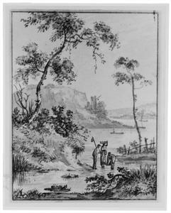 Rotsachtig rivierlandschap met drie figuren