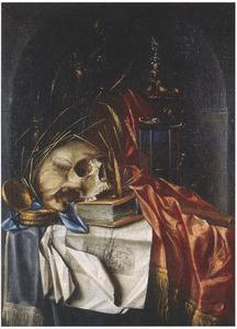 Vanitasstilleven met een schedel op een boek, een zandloper en andere voorwerpen in een nis