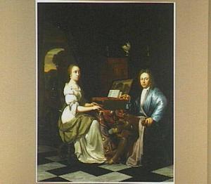 Interieur met een heer die een, aan het klavichord zittende, dame een parel aanbiedt