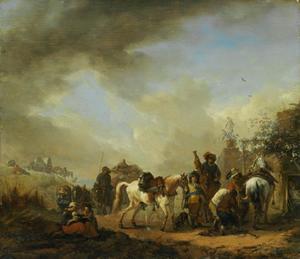 Landschap met paarden bij een hoefsmid