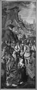 Episoden uit het martelaarschap van de H. Catharina (op de buitenzijde in grisaille: De kruisdraging: Simon van Cyrene helpt het kruis dragen)