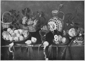 Stilleven met een vruchten en een Westerwald kan