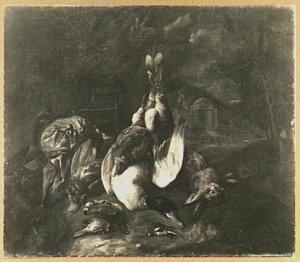 Jachtbuit van eend, haas en gevogelte, in een landschap
