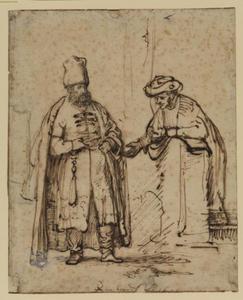 Twee discussiërende mannen in oriëntaals kostuum