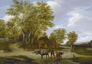 Boslandschap met veedrijver en zijn dieren onderweg