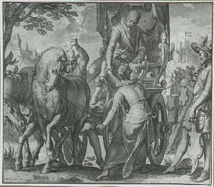 Allegorische voorstelling uit de serie 'De Onderwerping en Bevrijding der Nederlanden': de overwinnende prins Maurits geeft Belgica zijn rechterhand als teken van trouw en loyaliteit