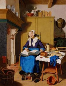 Slapende oude vrouw met een bijbel op haar schoot