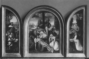 Lodewijk van Toulouse met stichter (links), De Bewening (midden), Johannes de Evangelist met stichter(rechts)