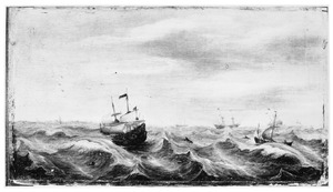 Schepen op zee bij stormachtig weer, op de achtergrond een stad