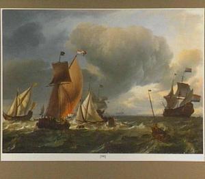 'De Bruinvisch' en visserschepen in naderend slecht weer