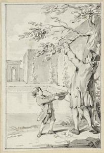 Illustratie voor 'De pruimenboom' in de Kleine gedichten voor kinderen door H. van Alphen