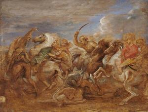 Leeuwenjacht met de koning van Perzië