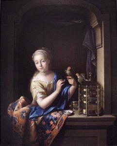 Meisje met een vogelkooi in een venster
