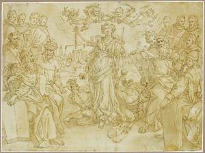Allegorie met portretten van de leden van de rechtbank van de Brabantse Munt