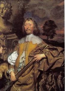 Portret van Endymion Porter (1587-1649)  als jager en beschermer der kunsten, met een page