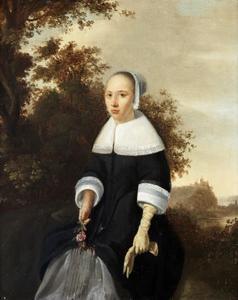 Portret van een jonge vrouw met roos in de hand