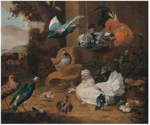 Vogels in een tuinlandschap