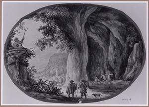 Landschap met grot en beeld van Neptunus