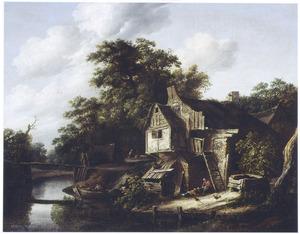 Landschap met boerderij aan een riviertje