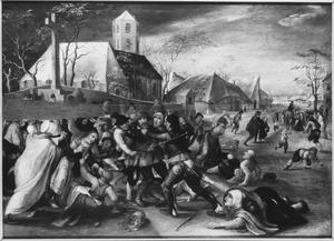 Boeren en een pelgrim in gevecht. In de achtergrond de H. Martinus