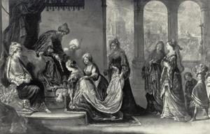 Ahasveros strekt zijn scepter uit naar Esther (Ester 5:2)