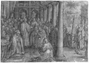 De eerste preek van Petrus en de keuze van de apostel Matthias (Acta 1:15-26), op de achtergrond de hemelvaart van Christus (Acta 1:9-12)