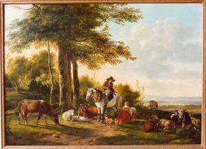 Man te paard en een herderin temidden van koeien en schapen