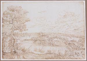Panoramalandschap met boerderijen in een vallei