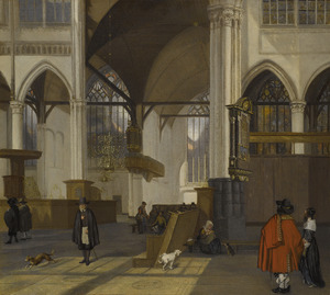 Interieur van de Oude kerk te Amsterdam, het transept gezien vanuit het zuiden