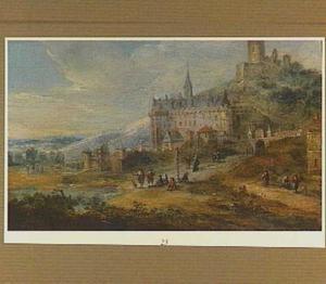 Gezicht op een kasteel (Chateau de  la Roche-Guyon?) in een heuvelachtig landschap met op de voorgrond enige wandelaars