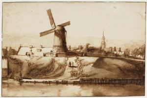 Amsterdam, het bolwerk ten oosten van de Sint Antoniespoort; in de achtergrond de toren van de Oude Kerk