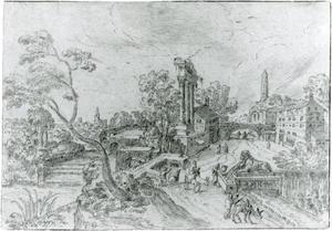 Rivierlandschap met klassieke ruïnes