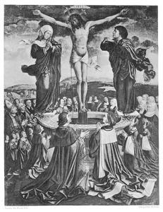 De verering van het Heilig Bloed met stichtersportretten