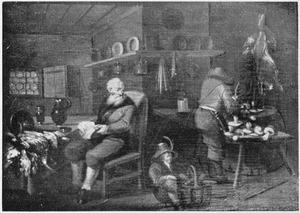 Mannen bereiden wild en paddestoelen in een keuken