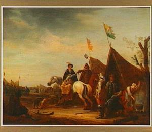 Legerkamp met een vrouw te paard en soldaten bij een marketentsterstent