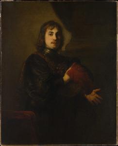 Portret van een man met halsberg en gevederde hoed