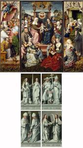 De geboorte van Maria (binnenzijde linkerluik), de H. Maagschap (middenpaneel), de dood van Maria (binnenzijde rechts); HH. Agnes en Lucia, Martinus van Tours en Valentijn (buitenzijde linkerluik), Jozef met het Christuskind en Gregorius de Grote, Odilia en Cecilia (buitenzijde rechterluik)