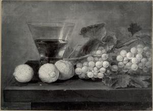 Stilleven met een roemer, citroenen en druiven