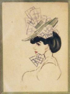 Vrouw met hoed met strikken, en profil